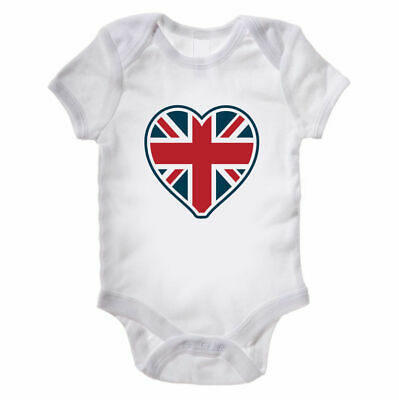 Union Jack Heart Baby Grow - Royal Prince - New Born Baby Gift - All Sizes