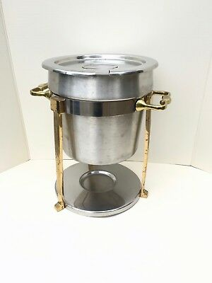 Vollrath Classic Brass Trim Soup Chafer 7.25QT Stainless Inset w/ Lid #46075