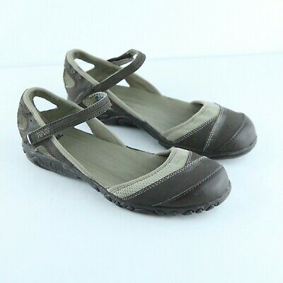fab61db03f38 WOMENS TEVA BROWN Grey Leather Ankle Square Toe Slip On Moccasin ...