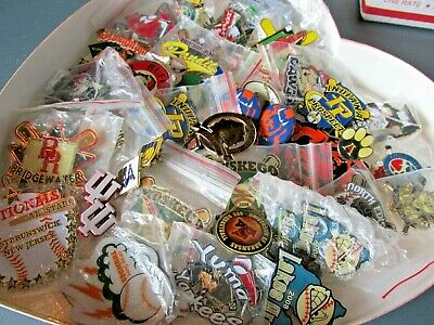 Sports Theme Lot of Lapel Pins, Hat Pins and Other Various Items, 5 LB Box