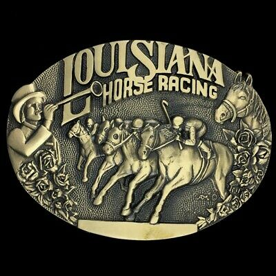 Vtg 80s Louisiana Horse Racing Downs Derby Race Jockey Brass Belt Buckle