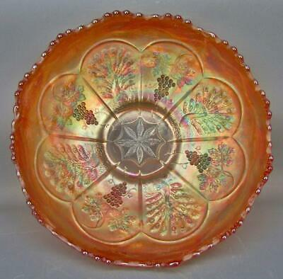 "Fenton PEACOCK & GRAPE Marigold Carnival Glass 8"" Ice Cream Shape Bowl 5595"
