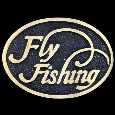 Vtg Fly Fishing Fisherman Fish Trout Outdoors Solid Brass Belt Buckle