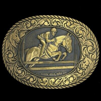 Vtg 80s Jockey Triple Crown Race Western Horse Racing Sports Brass Belt Buckle