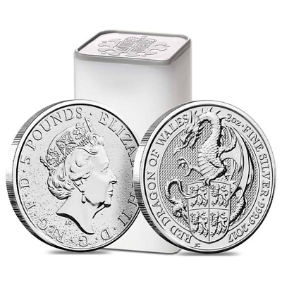 Roll of 10 - 2017 Great Britain 2 oz Silver Queens Beasts Red Dragon Coin BU