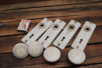 Set of 4 Antique Vintage White Bakelite Door Knobs Escutcheon Plate Handle