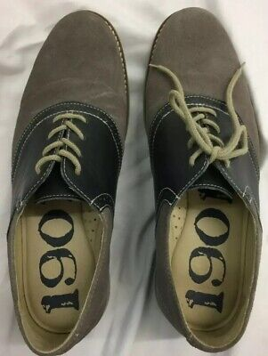 1936c0cf613 Nordstrom 1901 Suede Oxford Gray   Blue Saddle Up Shoes M23109 Mens 10.5M