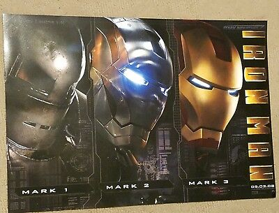 "Marvel Iron Man 20X13½ Orig Movie Poster Robert Downey ""Ironman 3 Stages"""