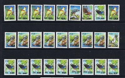Collection 27 Different Fiji Overprint Bird Stamps Issued 2007-2017 Um Mnh  Bj03