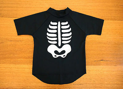 Black Rashie with Raglan Sleeves and Skeleton Print Kids 5-7yo - NEW