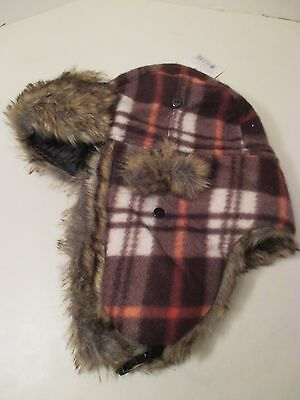 06dbaba852a Mens Adult TRUFIT Brown Plaid Faux Fur EarFlap Bomber Trapper Aviator  Winter Hat