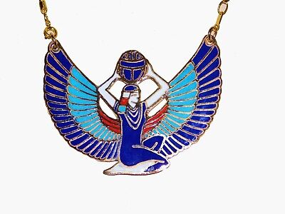 Egyptian Large Goddess Isis Open Wings Necklaces Solid Brass