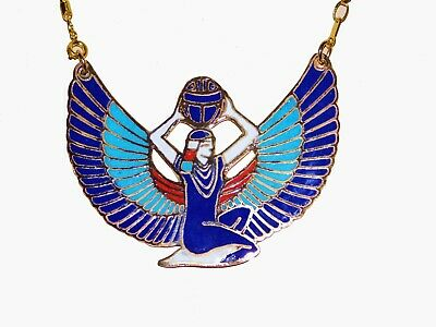 Large Egyptian Goddess ISIS Open Wings Hand Made Enameled Brass