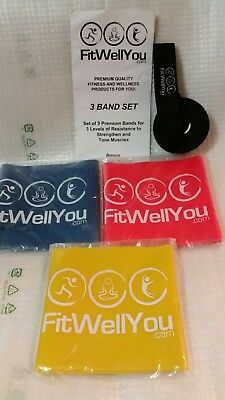 Set of 3 RESISTANCE BANDS Premium Quality 3 levels Strengthen Tone Muscles +