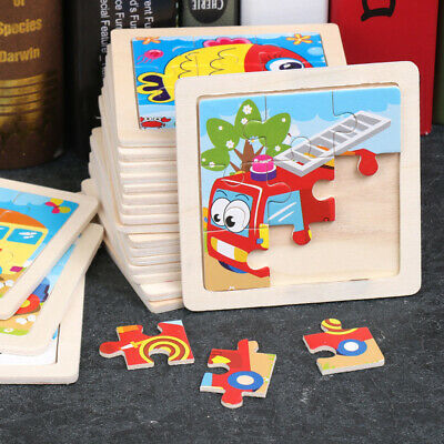 9Pcs/set Kids Baby Wooden Puzzle Cartoon Animals Cars Learning Educational Toys