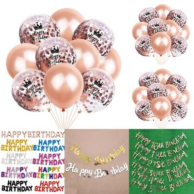 Happy Birthday Bunting Banner Self Inflating Foil Balloons Party Decor Rose Gold