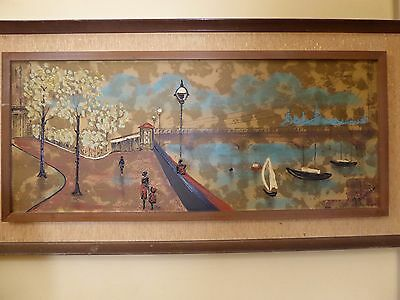 "Vintage Mid Century 1970's Oil Picture Painting ""Harbor City Scene""by Fairchild"