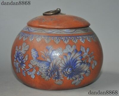 "6""China Yixing Zisha Pottery Painted Peony Flower Tea Caddies Caddy Box Canister"