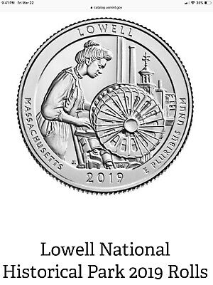 2019 ATB Lowell National Park Quarter Roll Massachusetts P D S Unopened 19ARC