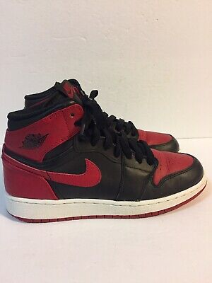 uk availability b259c f65d8 Nike Air Jordan 1 Retro High OG Bred Banned Size 6 6Y Youth 2013 Black Red