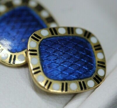 Antique 18k Gold Cufflinks with two sided Guilloche Enamel, Art Deco, 1930's