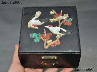 Chinese Rosewood wood Inlay Turquoise coral shell bird Leaves Jewelry Box boxes