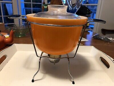Vintage retro orange Crown PYREX bowl with Cradle Warmer Stand atomic 60s