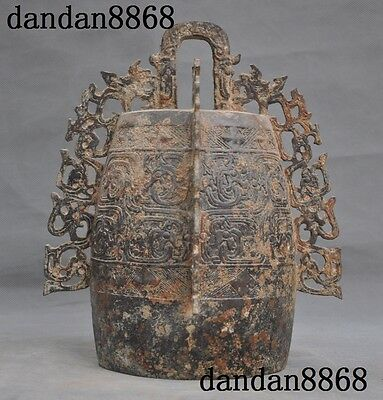 Ancient China Dynasty Bronze Ware Temple Dragon Beast Hanging Chime Bell Zhong