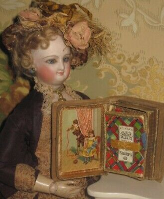 Sale! Sweet Antique Victorian Miniature Needle Case Book W/rare Doll & Toy Theme