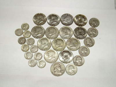 8oz Silver US Coins! (228g+) $9.70 Face 1940's-60's HALF DOLLARS QUARTERS &DIMES