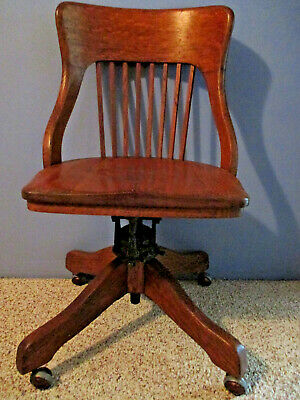 Vtg 1914 Milwaukee Chair Co Rolling Swivel Adjustable Tilt Solid Wood Desk Chair