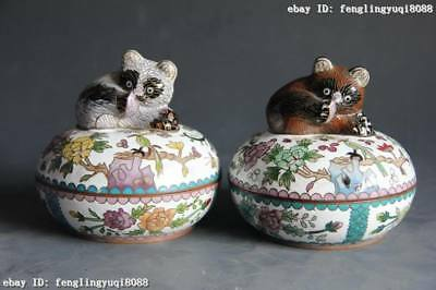 4 Chinese Folk Bronze Copper Cloisonne enamel Panda Flower Parrot Bird Box Pair