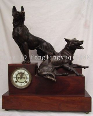 24 China Palace rosewood Copper bronze Two Dog Clockwork Machinery Table clock