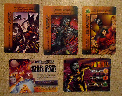 MARVEL OVERPOWER 1st ISSUE MISSION CONTROL GAME CARDS FLEER 1996 LOT x 5 *VGC