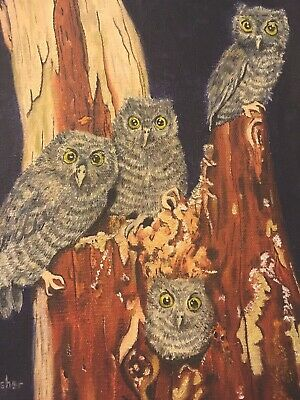 "E.M. Fisher (20th Century) ""Four Eastern Screech Owls"", Oil On Canvas Painting"