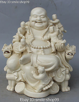 "13""Chinese Dehua Porcelain Happy Laugh Maitreya Buddha 5 Kid Dragon Chair Statue"