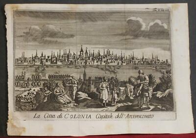Köln (Cologne) Germany 1740 Salmon Unusual Antique Copper Engraved City View