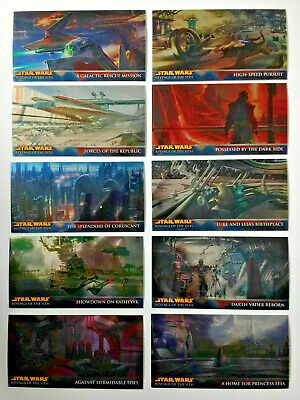 Star Wars Revenge Of The Sith WV Complete Retail Chrome Art Chase Card Set R1-10
