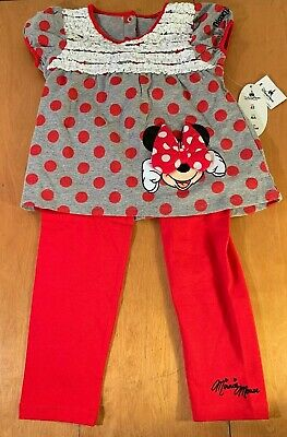 NWT Disney Parks Minnie Mouse Girls 2pc Leggings Size 4T, Outfit
