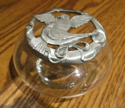 Vintage SEAGULL Potpourri Glass Container Jar Pewter Lid Doves Heart 1988