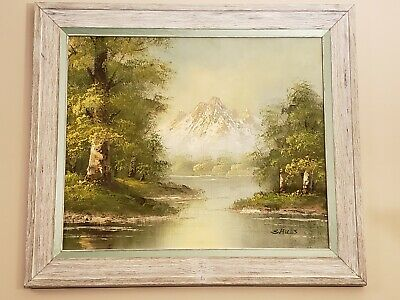 S Hills Original Oil On Canvas Painting Mountain Scene Shabby Chic Frame 20x24