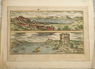 Braun, Georg and Hogenberg View Map Puteoli with Baiae 1575