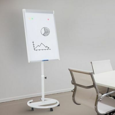 "Rolling Whiteboard Easel 28"" x 40"" Magnetic Height Adjustable  w/ Wheels & Erase"