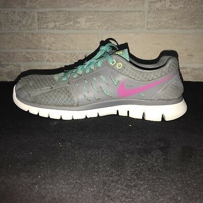 3c06b57b0ff4 Women s NIKE Flex 2013 Run Running Shoes 580440-002 Gray Teal Pink Size 12