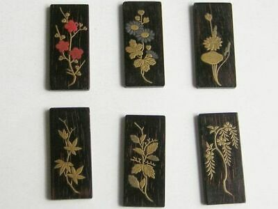 Six antique Japanese lacquered miniature voting counters – (7621)