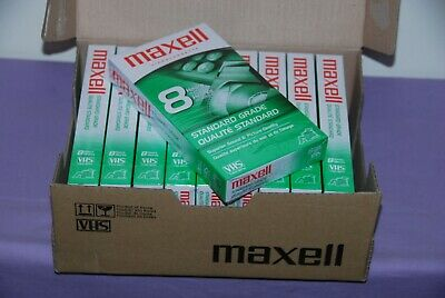 Box of 10 Maxell 8 Hours Standard Grade T-160 Blank VHS Videocassette Tapes -NEW