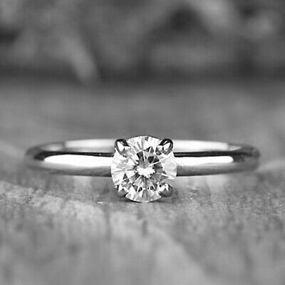 14k White Gold Finish 0.75 Ct Round Cut Diamond Solitaire Engagement Ring