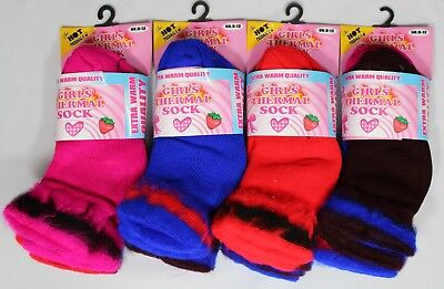 288 Pairs Girls Thermal Socks Cotton Blend Assorted Colours Sizes 6-8 9-12 New