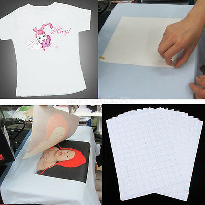 10pcs/Set A4 Iron on T-shirt Transfer Paper For DIY Fabrics Inkjet Printers UK