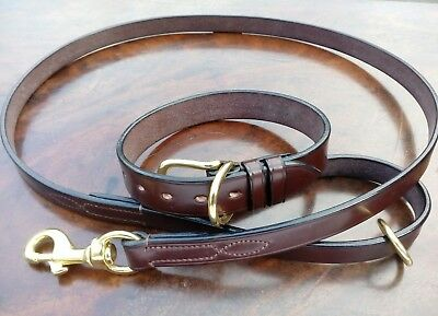"""Best English Bridle Leather Bespoke 1"""" wide Dog Collar & 3/4"""" Wide Matching Lead"""